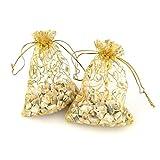 100 bolsas de organza de color champán, para regalo de boda
