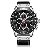 Reloj de Pulsera Deportivo para Hombre con Cronógrafo y Pulsera de Cuero con Esfera Negra-M2081