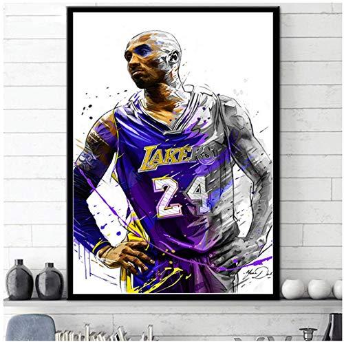 Kobe BryantBasketball Star Art Poster Poster und Drucke Wandbild Leinwand Gemälde Raumdekoration Druck auf Leinwand-50x70cm Kein Rahmen