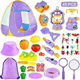 MIBOTE Kids Camping Tent Set Toys, 45pcs Pop Up Play Tent with Camping Gear Tools Indoor Outdoor...
