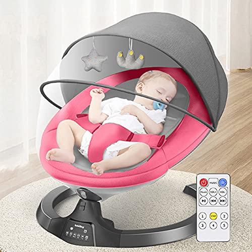 BABYNEED Hamaca Bebé Electrica,Columpio de 5 velocidades y Ajuste del Respaldo de 4 velocidades,Balancín De Movimiento para Bebé con Función Bluetooth, Columpio Bebe para bebés de 0 a 24 Meses,Pink