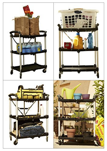 Olympia Tools 85-188 Pack-N-Roll Folding Collapsible Service Cart, Black, 50 Lb. Load Capacity per Shelf