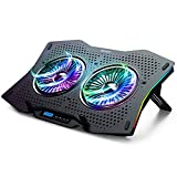 TECKNET Refroidisseur Ordinateur Portable pour 9'-17' avec 2 Ventilateurs Silencieux, PC Refroidissement Support Ventilé, 10 Éclairage RGB, Hauteur Réglage