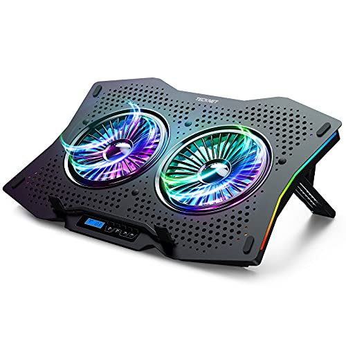 TECKNET Base di Raffreddamento per Notebook Universali 9   a 17  , Ventola PC Portatile con 10 modalità Retroilluminazione RGB, 2 Ventole Silenziose, 7 Altezze di Regolazione e 2 Porte USB