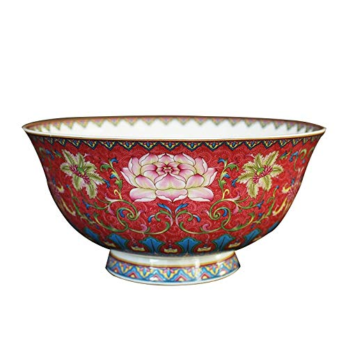 4.5/6 inch Chinese Vintage Lucky Red Ceramic Bowl Jingdezhen Bone china Ramen Soup Rice Bowls Lotus Pattern Tableware for Gifts