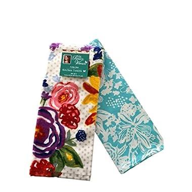 Pioneer Woman Celia Dot Kitchen Towel Dish Towel Set 2 pc Floral