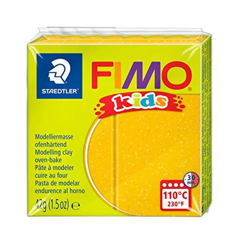 STAEDTLER FIMO KIDS, pasta modellabile termoindurente, per bambini, panetto da 42 grammi di colore oro glitter, 8030-112