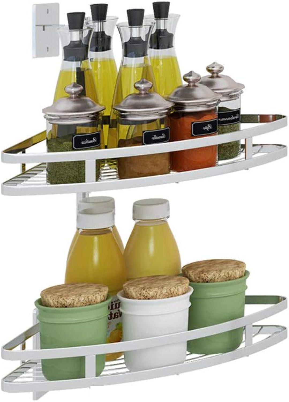 HTTDIAN Kitchen Racks Seasoning Tripod Multi-Layer Corner redating Oil Salt Sauce Vinegar Storage Rack Storage (Size   Two Layers)