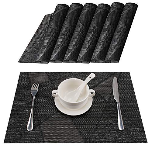 MOSIIKON Manteles Individuales Lavables Salvamantele Individuales PVC Antideslizantes Resistente al Calor Juego de 6 para la Mesa de Comedor de Cocina,(Negro clásico)