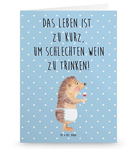 Mr. & Mrs. Panda Geburtstagskarte, Glückwunschkarte, Grußkarte Igel mit Wein mit Spruch - Farbe Blau Pastell