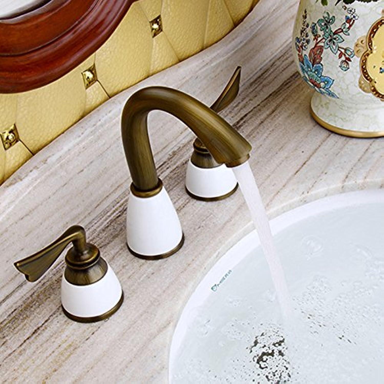 Maifeini Kessel Messing Doppel Die Drei Lcher In Der Heien Und Kalten Wasser Mixer 8 Klicken Sie Auf Die  Universale Waschbecken Badezimmer Hahn Tippen