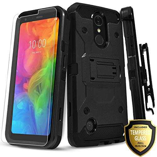 LG K20 Plus Case, LG K20 Case, LG Harmony Case, LG K20 V/Grace Case, with [Tempered Glass Screen Protector], Full Cover Heavy Duty Dual Layers Phone Cover with Kickstand and Locking Belt Clip -Black
