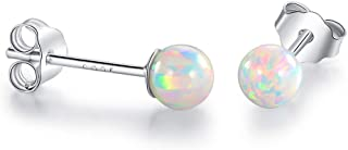 Sterling Silver Opal Stud Earrings Hypoallergenic for Little Girls 4mm Ball Stone