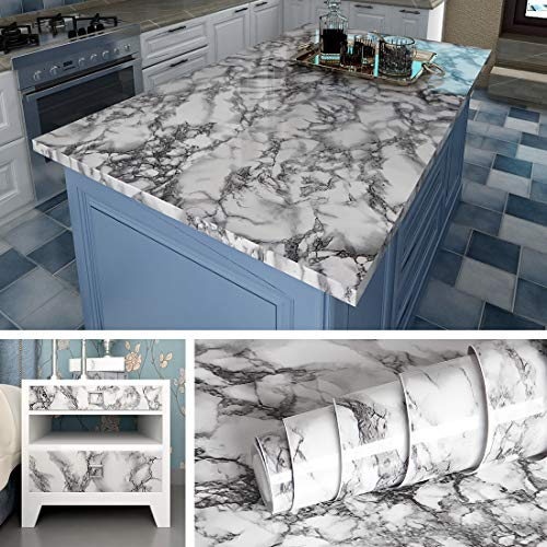 Livelynine 40CMX10M Klebefolie Marmor Folie Schwarz Selbstklebende Folie für Möbel Küchenarbeitsplatte Laptop Folie Arbeitsplatte Folie Küche Tisch Schrank Schminktisch Dekofolie Mamorfolie Küche