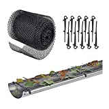 Roof Gutter Guard Mesh Plastic - Gutter Cover Guard Mesh Protector with 10 Clip Hooks Easy Install High Resist Mesh Gutter Guard to Protect from Leaves or Debris Clogging Gutter,Downspout,and Drain…