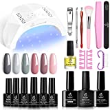 Beetles Gel Nail Polish Kit with U V Light 48W LED Nail Lamp Nude Grays Pink Gel Nail Polish Starter Kit Manicure, Soak...