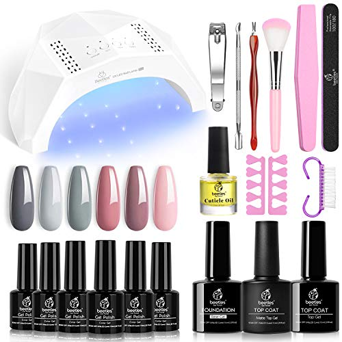Beetles Gel Nail Polish Kit with U V Light 48W LED Nail Lamp Nude Grays Pink Gel Nail Polish Starter Kit Manicure, Soak off U V LED Gel Nail Polish Set DIY Home Gel Nail Kit Designs Gifts for Women