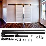 Lyrlody - Riel deslizante de arpillera con ruedas para puertas correderas, juego de manija para puerta corredera de yeso, 6,6 FT/200 cm