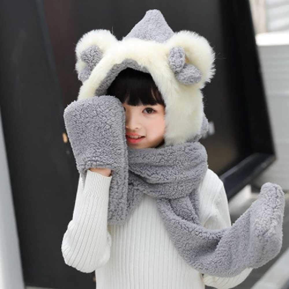 NC Winter Parent-Child Hat, Gloves, One Scarf, Children's Winter Warm Cartoon Plush Hat 3 in 1 175cm / Gray