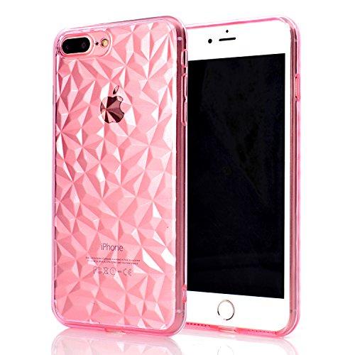 WindTeco Funda iPhone 7 Plus, Brillante Cristal Patrón de Diamante Carcasa iPhone 8 Plus Ultra Delgado Case Silicona Case Bumper Shock-Absorción Protectora Caso para iPhone 7 Plus/iPhone 8 Plus, Rosa