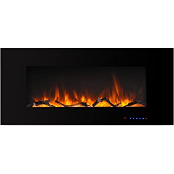 Valuxhome Electric Fireplace, 42 Inches Wall Mounted Fireplace with Overheating Protection, Thermostat, Timer & Remote, Touch Screen,1500/750W, Black