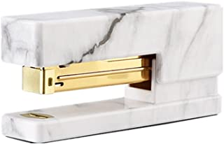 MEI YI TIAN White Marble Stapler Heavy Duty, Desktop Staplers Office Supplies with Non-Slip Base Spring Powered Stapler