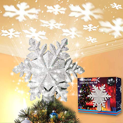 Christmas Tree Topper Lighted with White Snowflake Projector, LED Rotating Snowflake, 3D Glitter Lighted Sliver Snow Tree Topper for Christmas Tree Decorations