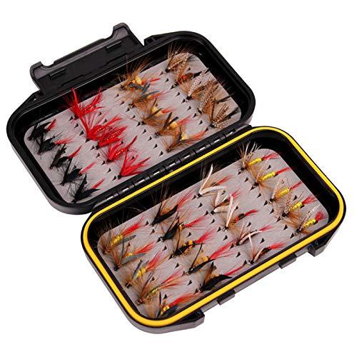 40pcs Kits de Pesca con Mosca, MKNZONE Cebos Artificiales de Hechos a...