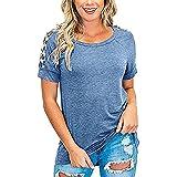 Elesoon Camiseta de verano para mujer con estampado de leopardo liso liso y patchwork raglán de manga corta, A-azul, 40