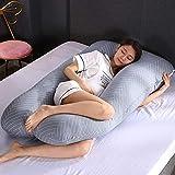 TOHHOT Oreiller Multifonction pour Femmes Enceintes, Oreiller latéral de Grossesse 100% Coton en Forme de U Amovible et Lavable