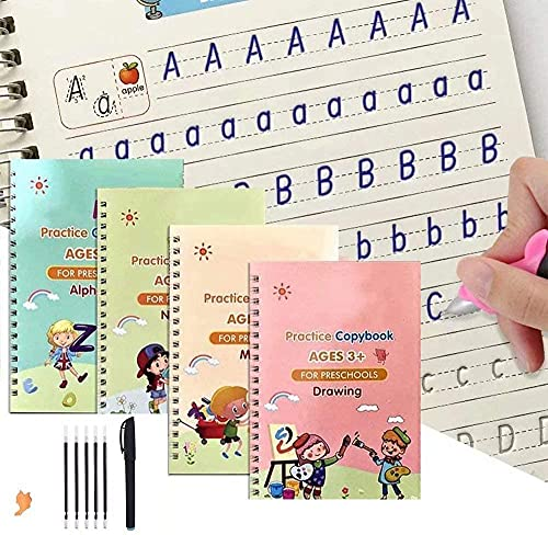 4 Packs Books Reusable Copybook with Pen (The Writing Will Disappear) - Practice Copybook - Alphabet - Number - Math - Drawing - Learning for Kid (4 Books and Pen)