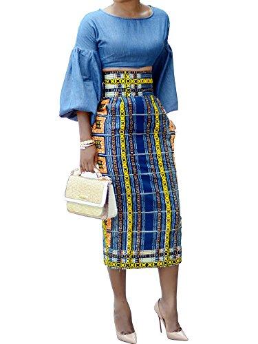CNJFJ Womens African Print Plaid Midi Skirt Bodycon High Waist Floral Knee Length Pencil Skirts Sapphire