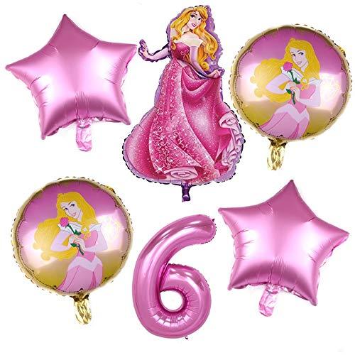 XINGYAO Globos 6pcs cumpleaños Blancanieves Aurora de la Princesa cumpleaños Globos Belle Decoración 32 Pulgadas El número Globos Azules (Ballon Size : 18inch, Color : B Pink 6 6pcs)