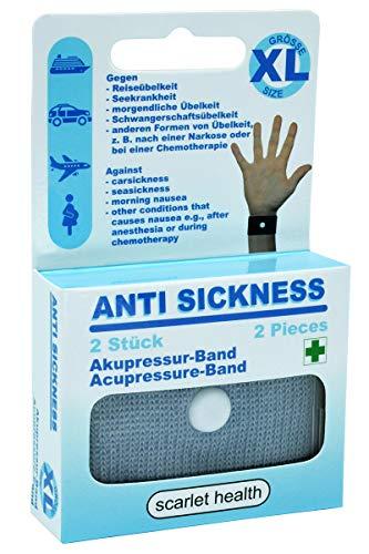 scarlet health Banda de acupresión «Sea», 1 par contra náuseas y enfermedades marítimas, para adultos y niños, banda antináuseas para la muñeca, 2 bandas elásticas (gris XL)