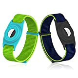 2 Pack Kids Wristband for AirTag, Nylon GPS Bracelet Suitable Apple Air Tag, Watch Band Strap Holder Accessories for Toddler Baby Children Elders Adjustable Anti-Lost Lightweight(NavyblueLightYellow)