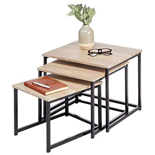 mDesign 3er-Set Beistelltische – moderner Couchtisch im Industrial-Look – Holztisch mit Metallbeinen zum Ablegen von Laptops, Zeitschriften oder Büchern – naturfarben/schwarz