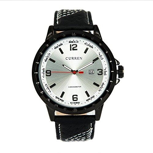 Businss-Armbanduhr mit schwarzem Gehäuse, silberfarbenes Zifferblatt, Datumsanzeige, Quarzuhrwerk, Lederarmband, Businss-Armbanduhr