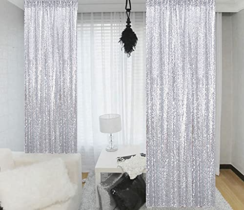Sequin Curtains 2 Panels 2FTx8FT Silver Glitter Backdrop Silver Sequin Photo Backdrop Wedding Pics Backdrop Y1121