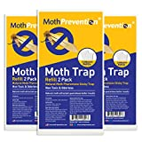 MothPrevention Powerful Moth Trap Refill Strips   3X Twin Packs (6 Strips in Total) - for Clothes Closet Moths - Clothes Moth Traps   Moth Pheromone Traps for House   Results Guaranteed!