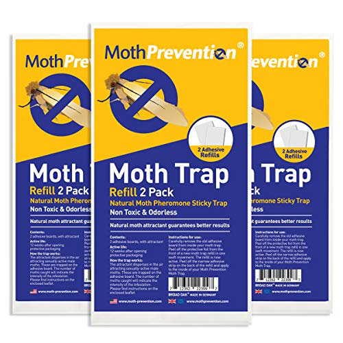 West Bay Retail Powerful Moth Trap Refill Strips | 3X Twin Packs (6 Strips in Total) | for MothPrevention Clothes Moth Traps | Carpet Moth Traps | Results Guaranteed!