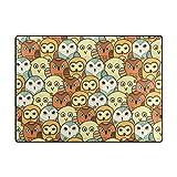 AHOMY Teppich 150 x 200 cm, Rutschfest, modern, süße Eulen-Teppich für Wohnzimmer/Baby/Haustierzimmer/Schlafzimmer/Esszimmer/Küche, Textil, Multi, 150x200 cm (5'x7' ft)