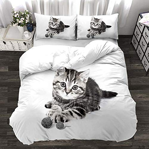 zzkds Animal cat three-piece bedding horse 3D three-piece boys and girls school sheets AHW-3 200 * 200 (three-piece)