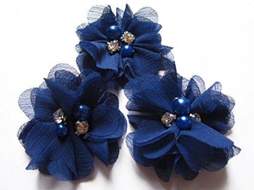YYCRAFT 20 Stück Chiffon Blumen mit Strass und Perlen Hochzeit Dekoration/Haar Accessoire Handwerk/Nähen Craft(Dark Royal,5cm)