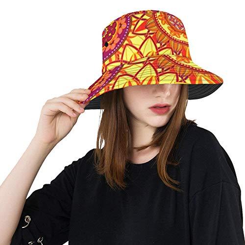 Abstract Seamless Pattern Ornament Mandala Repeat Bucket Hats Summer Travel Beach Sun Hat Outdoor Cap Unisex