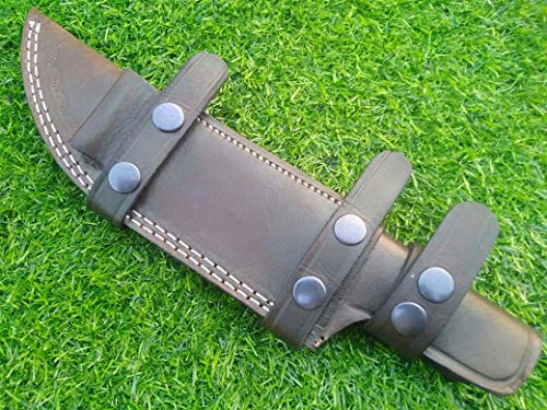 Ottoza Handmade XL Leather Knife Sheath Right Hand Tracker Knife Sheath - Bushcraft Knife Sheath - Hunting Knife Sheath - Survival Knife Sheath Horizontal Carry Dark Brown TOP Grain Leather No:124