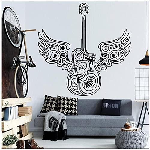 WYLYSD Guitarra Especial Con Alas De Ángel, Diseño Artístico, Pegatina De Pared Para Dormitorio, Decoración Artística Para El Hogar, Mural, Eletro Jazz, Calcomanía De Instrumento Musical 56X56Cm
