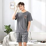 Nuevo Traje de Pijama de Hombre Pijama Simple de Hombre Pijama de Manga Corta para Hombre pantalón Corto Chaqueta Informal 2 XL