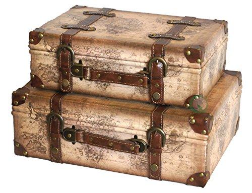 De Manera rápida Las importaciones Old diseño Vintage de mapamundi de Maletas para niños con Correas de Piel con Tapa, Juego de 2