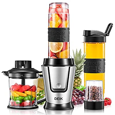 Deik Personal Blender, 500 Watt High-Speed Smoothie Blender Single Serve Blender for Shakes and Smoothies, Mini Blender with 20Oz Portable Blender Cups, Coffee Grinder Cup, and Chopper, Silver by Deik