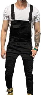 Babao Mens Denim Jumpsuits Dungarees Slim Overalls Suspender Trousers